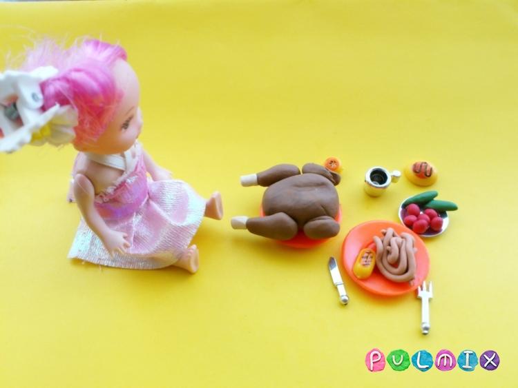 Как слепить обед для кукол из пластилина поэтапно - шаг 6