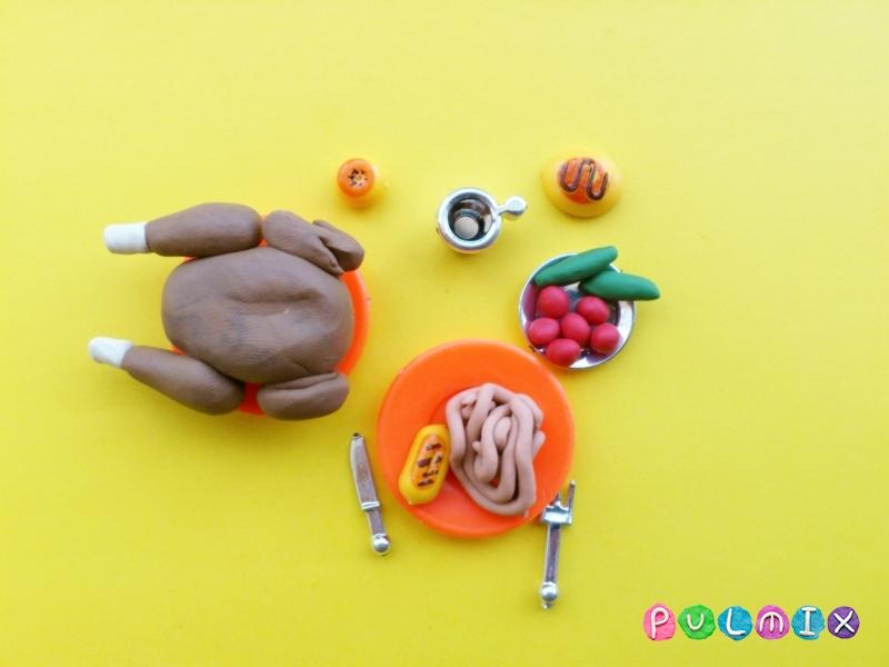 Как слепить обед для кукол из пластилина поэтапно