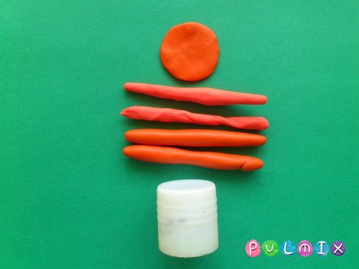 Как лепить тортик со свечками из пластилина поэтапно - шаг 2