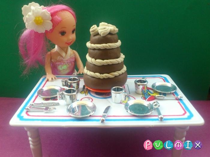 Как сделать из пластилина шоколадный торт поэтапно - шаг 10