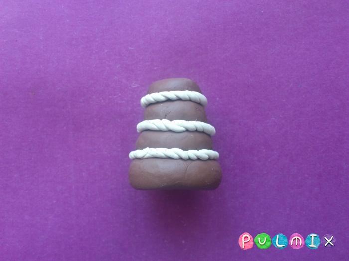 Как сделать из пластилина шоколадный торт поэтапно - шаг 6