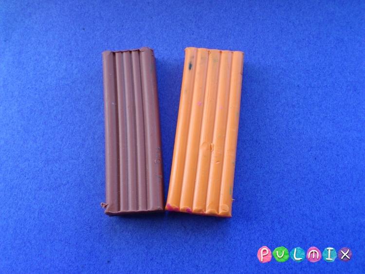Как слепить кукольную еду печенье из пластилина поэтапно - шаг 1