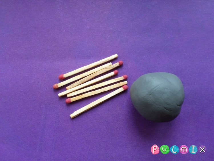 Как слепить мангал с шашлыком из пластилина - шаг 1