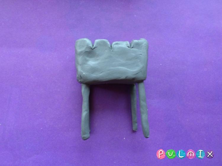 Как слепить мангал с шашлыком из пластилина - шаг 6