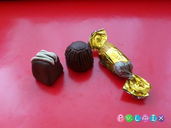Как слепить шоколадные конфеты из пластилина - шаг 8