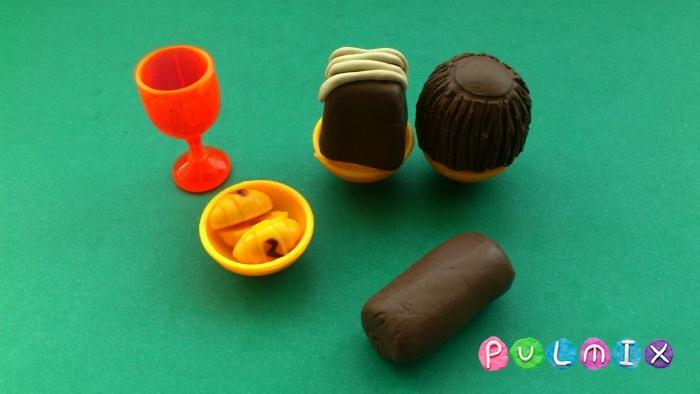 Как слепить шоколадные конфеты из пластилина