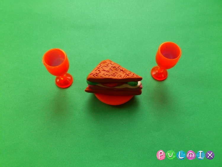 Как слепить сэндвич из пластилина поэтапно - шаг 6