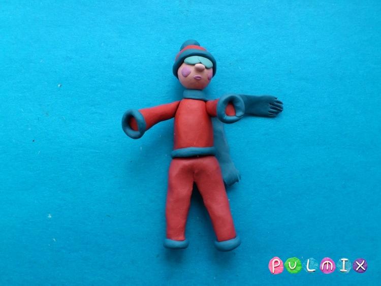 Как слепить лыжника из пластилина урок с фото - шаг 12