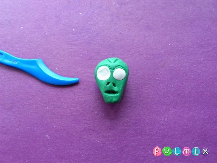 Как слепить зомби из пластилина урок с фото - шаг 5
