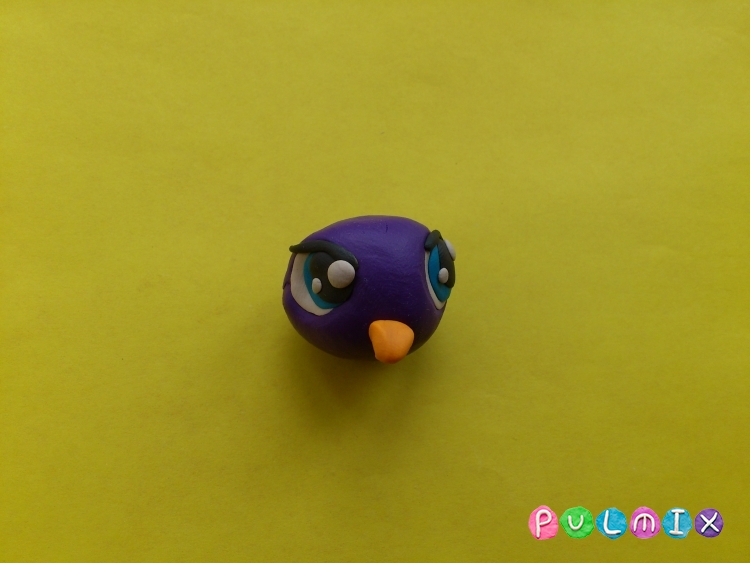 Как слепить пет шопа пингвиненка из пластилина - шаг 4