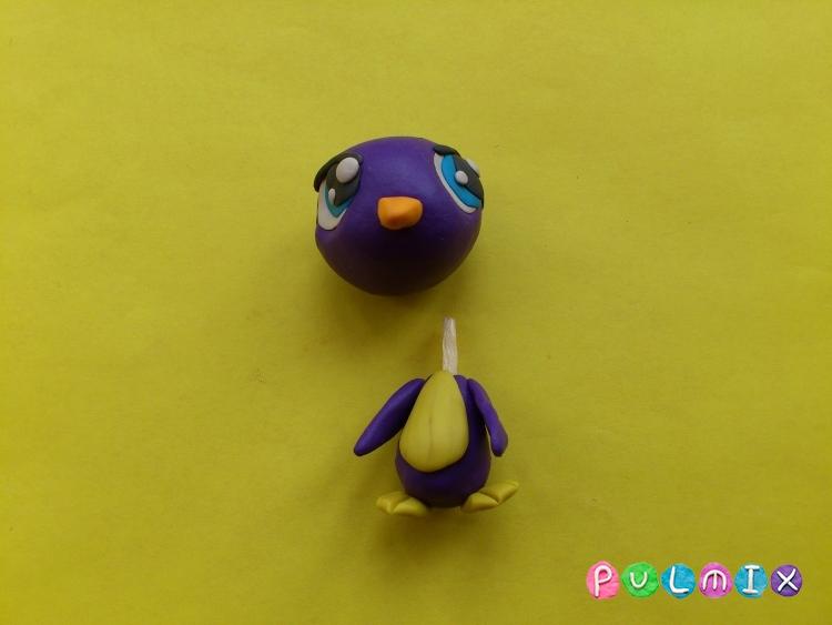 Как слепить пет шопа пингвиненка из пластилина - шаг 8
