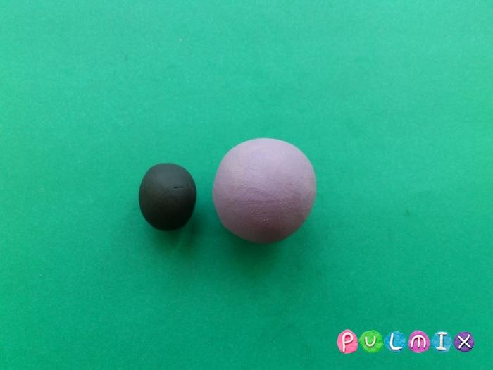 Как лепить из пластилина фиолетового миньона - шаг 2