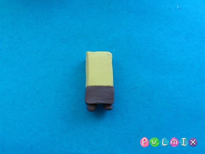 Как сделать губку боба из пластилина поэтапно - шаг 3