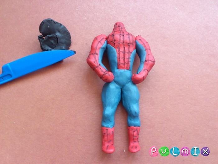 Как слепить из пластилина человека паука фото урок - шаг 12