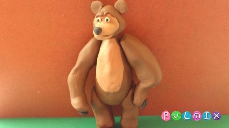 Маша и медведь из пластилина поделка 13