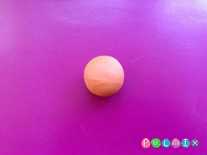 Как слепить смешарика Копатыча из пластилина - шаг 2