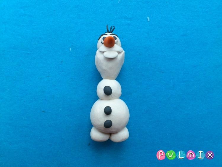 Как слепить снеговика Олафа из пластилина поэтапно - шаг 11