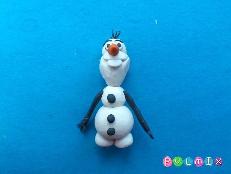 Как слепить снеговика Олафа из пластилина поэтапно - шаг 12