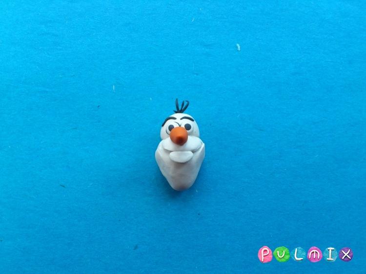 Как слепить снеговика Олафа из пластилина поэтапно - шаг 9