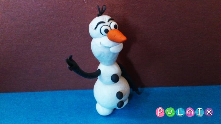Как слепить снеговика Олафа из пластилина поэтапно