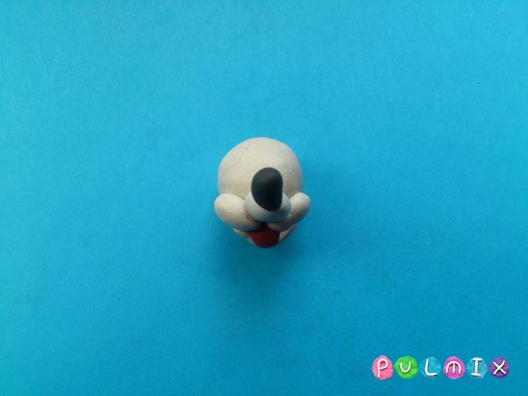 Лепим из пластилина белую мышку из мульт-ма Кот Леопольд - шаг 8