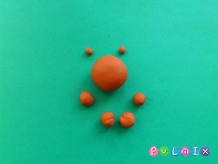 Лосяш из пластилина поэтапный урок - шаг 3