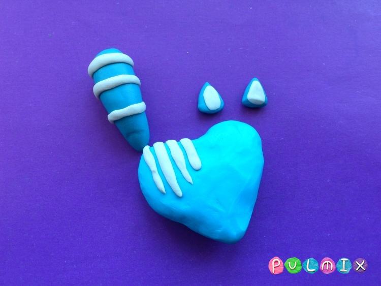 Как слепить котенка-валентинку из пластилина своими руками - шаг 3