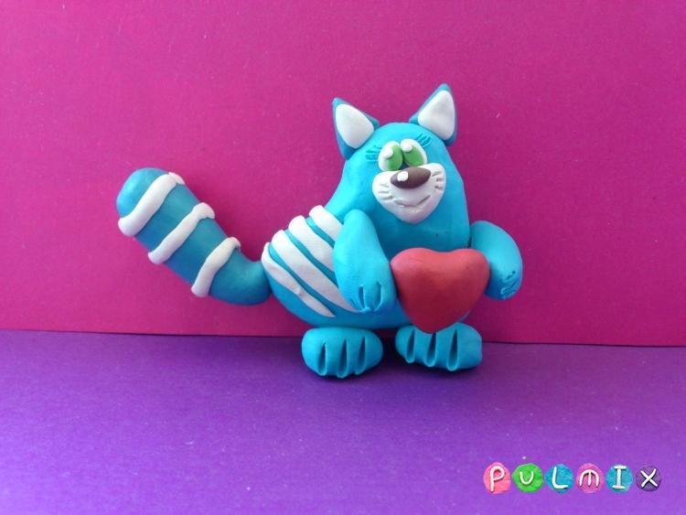 Как слепить котенка-валентинку из пластилина своими руками - шаг 9