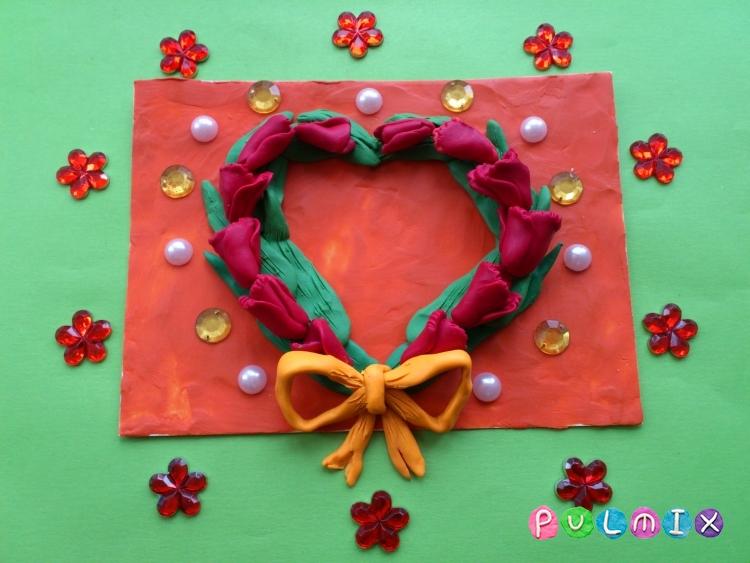 Как слепить открытку валентинку из пластилина своими руками - шаг 12