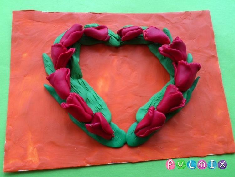 Как слепить открытку валентинку из пластилина своими руками - шаг 6