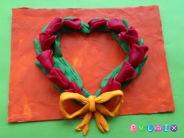 Как слепить открытку валентинку из пластилина своими руками - шаг 9