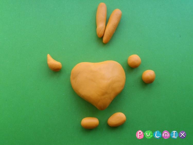 Как слепить зайчика-валентинку из пластилина своими руками - шаг 2