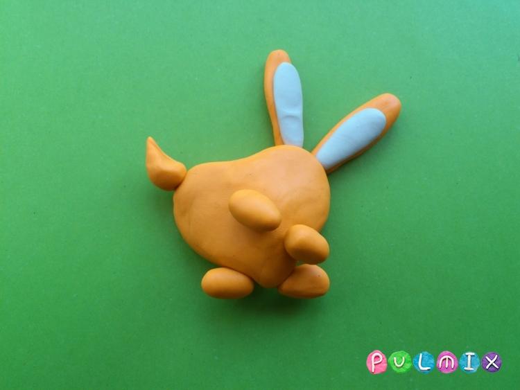 Как слепить зайчика-валентинку из пластилина своими руками - шаг 3