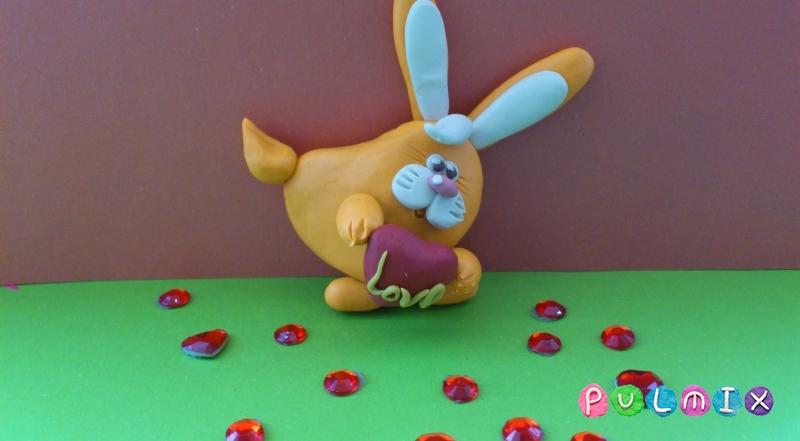 Как слепить зайчика-валентинку из пластилина своими руками