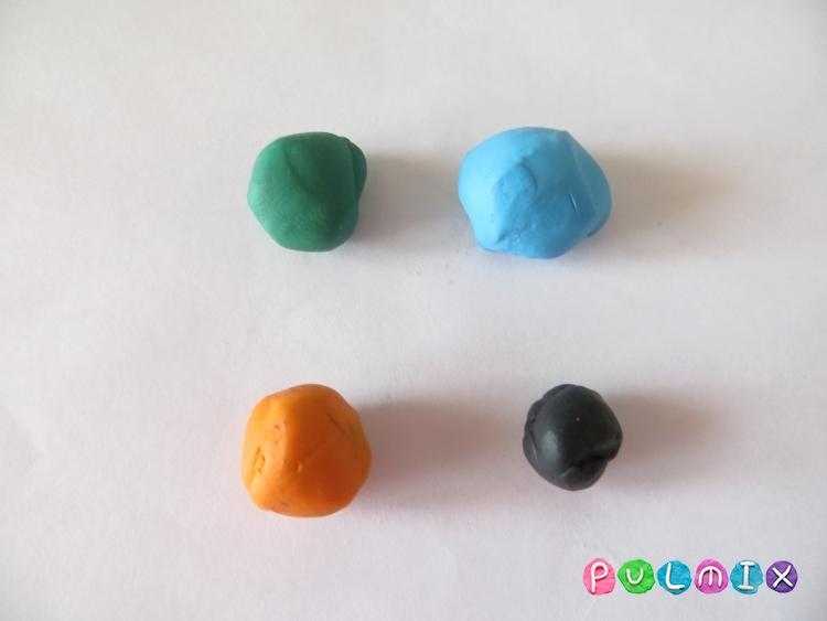 Как сделать новогодний шарик из пластилина поэтапно - шаг 1