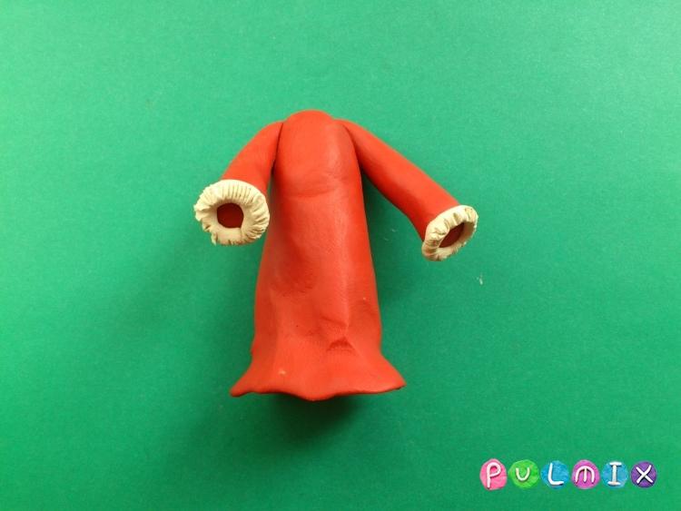 Как слепить Деда Мороза из пластилина поэтапно - шаг 11