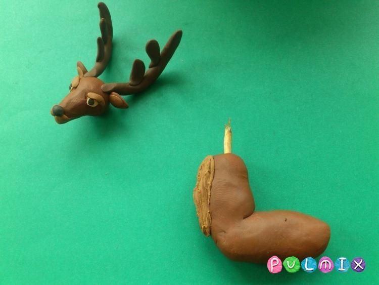 Как слепить новогодних оленей из пластилина поэтапно - шаг 9