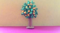 Как слепить дерево абрикос из пластина поэтапно