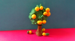 Как слепить дерево айву с плодами из пластилина