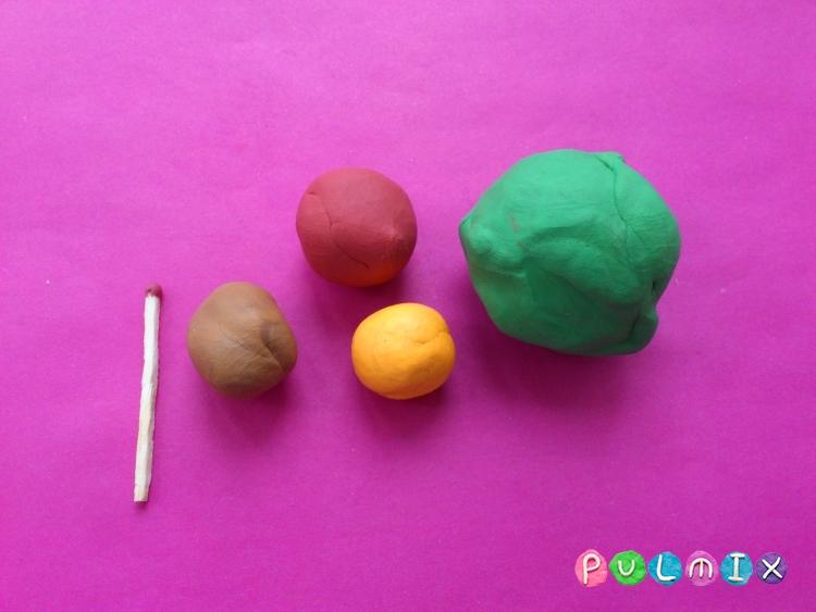 Как слепить апельсиновое дерево из пластилина - шаг 1