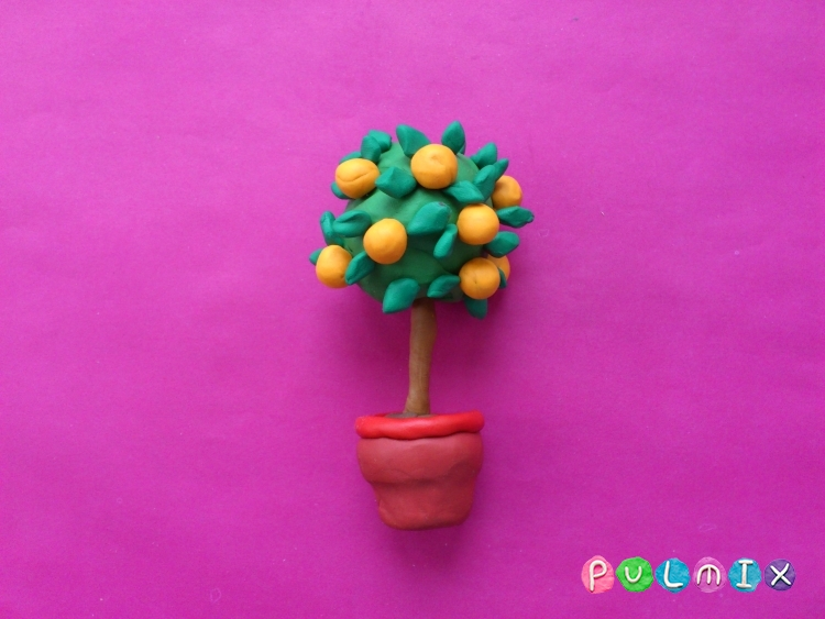 Как слепить апельсиновое дерево из пластилина - шаг 8