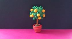 Как слепить апельсиновое дерево из пластилина