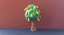 Как слепить дерево грушу с плодами из пластилина поэтапно