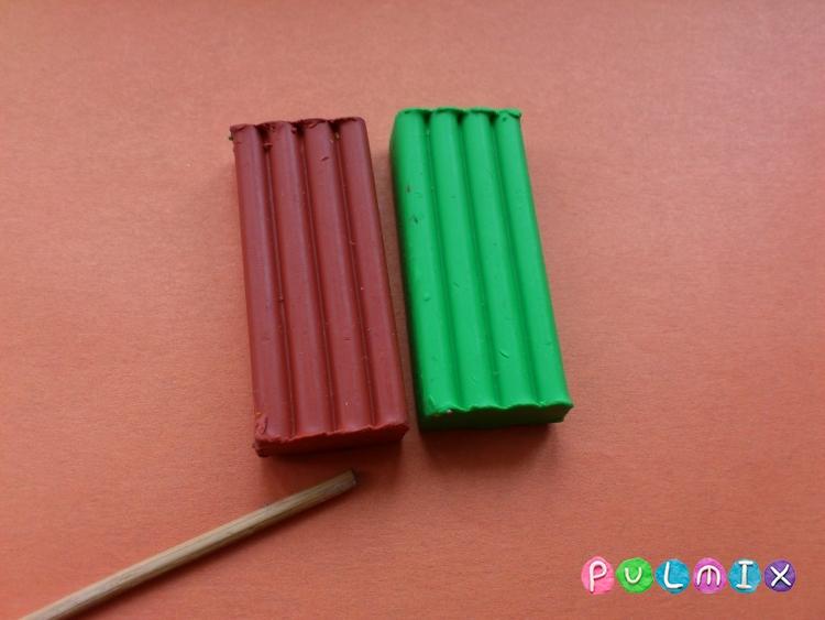 Как слепить тополь из пластилина - шаг 1