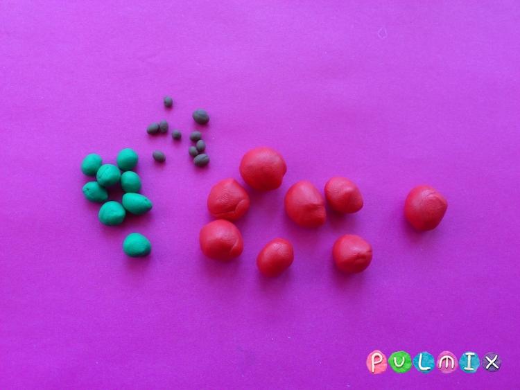 Как слепить яблоню с плодами из пластилина - шаг 4
