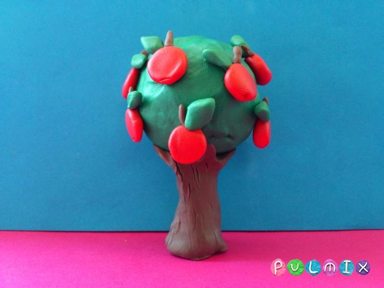 Как слепить яблоню с плодами из пластилина - шаг 8