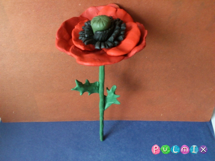 Как слепить цветок мак из пластилина поэтапно - шаг 13
