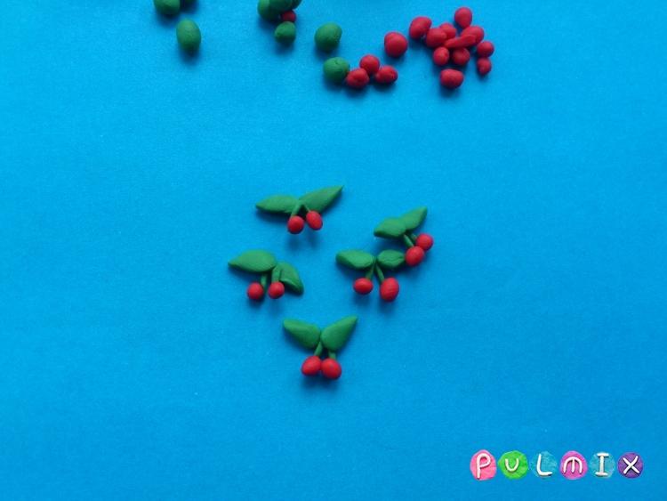 Как слепить дерево вишню с плодами из пластилина - шаг 6
