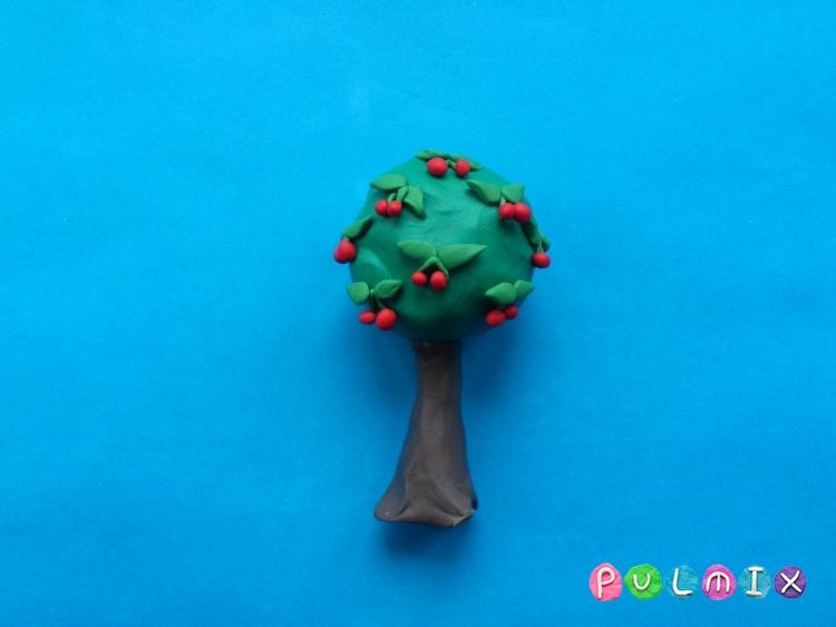 Как слепить дерево вишню с плодами из пластилина - шаг 7