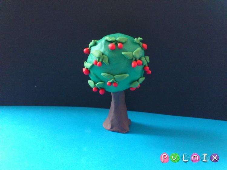 Как слепить дерево вишню с плодами из пластилина - шаг 8